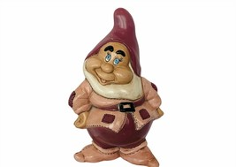 Happy Snow White Seven 7 Dwarfs figurine vtg ceramic Walt Disney purple statue - $38.65