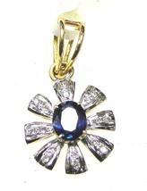 Genuine 0.40 CT Diamond Solid 14K Yellow/White Gold Sapphire Pendant CSJ311 - $1,128.00