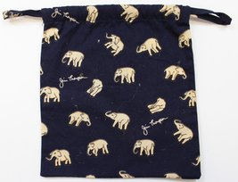 'Navy 'Thai Elephant' Draw String Hand Bag' - $25.00