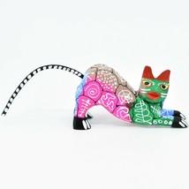 Handmade Alebrijes Oaxacan Wood Carved Painted Folk Art Stretching Cat Figurine