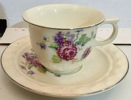 Taylor Smith & Taylor pattern 2372 Cup and 2 Saucers Roses and Flowers - $18.81