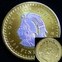 Aztec Calendar Cameo Round Silver OZ Ounce 24k Gold & Capsule  - $67.32