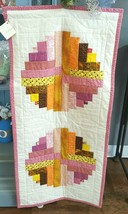 Handmade Quilted Tapestry/Blanket by Betty Joe (pink, white, yellow) - $125.00