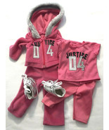 For American Girl Doll Justice Pink Jogging Suit, PJs & Shoes - $28.49