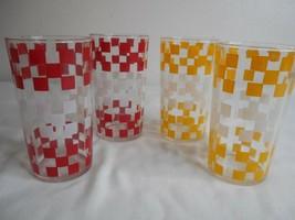 4 Vintage Red Yellow White Checked Tumbler Glasses - $29.69