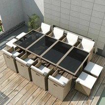 vidaXL Outdoor Dinning Set 33 Piece Poly Rattan Wicker Patio Garden Furn... - $966.99