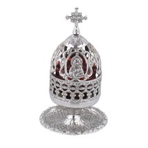 Engraved Nickel Plated Vigil Lamp with Holy Theotokos (9580 N) - $66.11