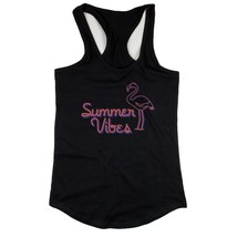 Black Summer Vibes Flamingo Tank top for Women Summer Vacation Beach Wear - $14.99