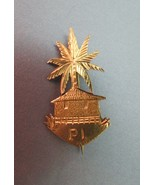 WWII Era Paris Island Brooch Gold Plated Palm Tree Grass Hut Hand Made U... - $49.49