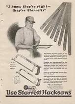 Starrett Tools Hacksaw 1928 Illustrated AD - $14.99