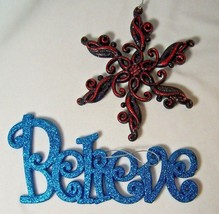 2 Glitter Ornaments Blue Believe Inspiration Word Red Black Abstract Sno... - $9.59