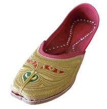 Women Shoes Traditional Handmade Jutti Leather Flip-Flop Mojari Golden U... - £24.51 GBP