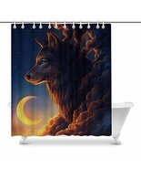 InterestPrint 3D Big Fox with Clouds Form and Moon House Decor Shower Cu... - $37.61