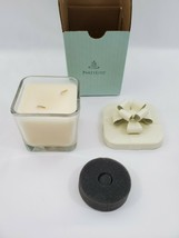 PartyLite French Vanilla Bourbon Candle Glass Jar Metal Bow Double Wick ... - $15.10