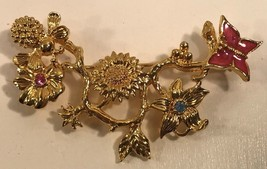 Vintage Avon Brooch Branch With Enamel Butterfly Rhinstones Goldtone Signed - $15.47