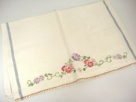 "Vintage Floral Embroidered Cotton Dish Towel Blue Stripe 15"" x 20"" Very ... - $8.90"