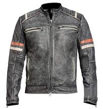 Mens Distressed Black Retro 2 Vintage Cafe Racer Motorcycle Leather Jacket image 1