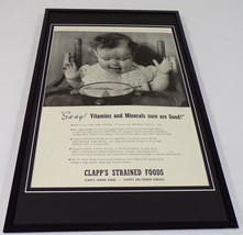 1942 Clapp's Strained Foods Framed 11x17 ORIGINAL Vintage Advertising Po... - $65.09