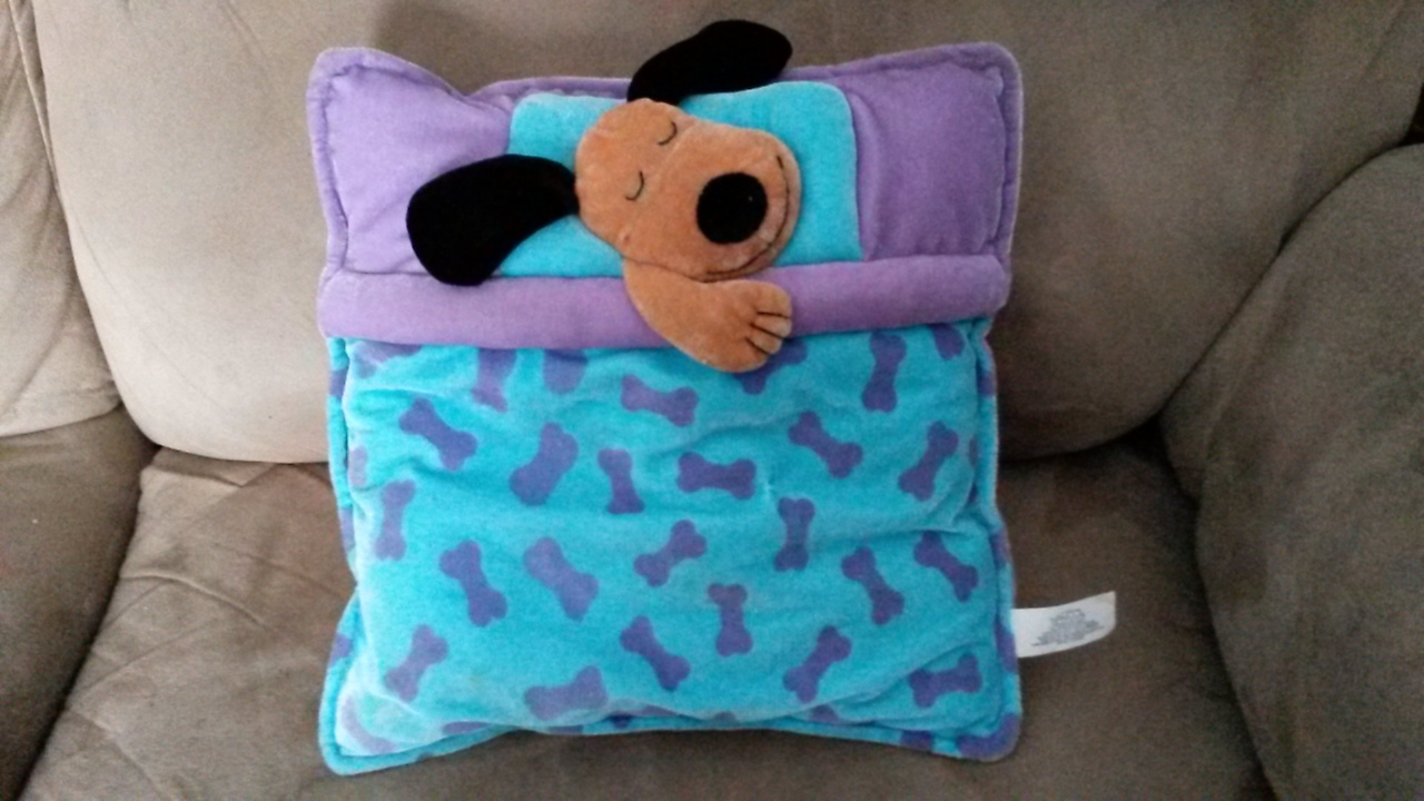 "Primary image for PILLOW with DOG Blue Purple RARE PROMO Brand New Plush 11"" VHTF Promotional"