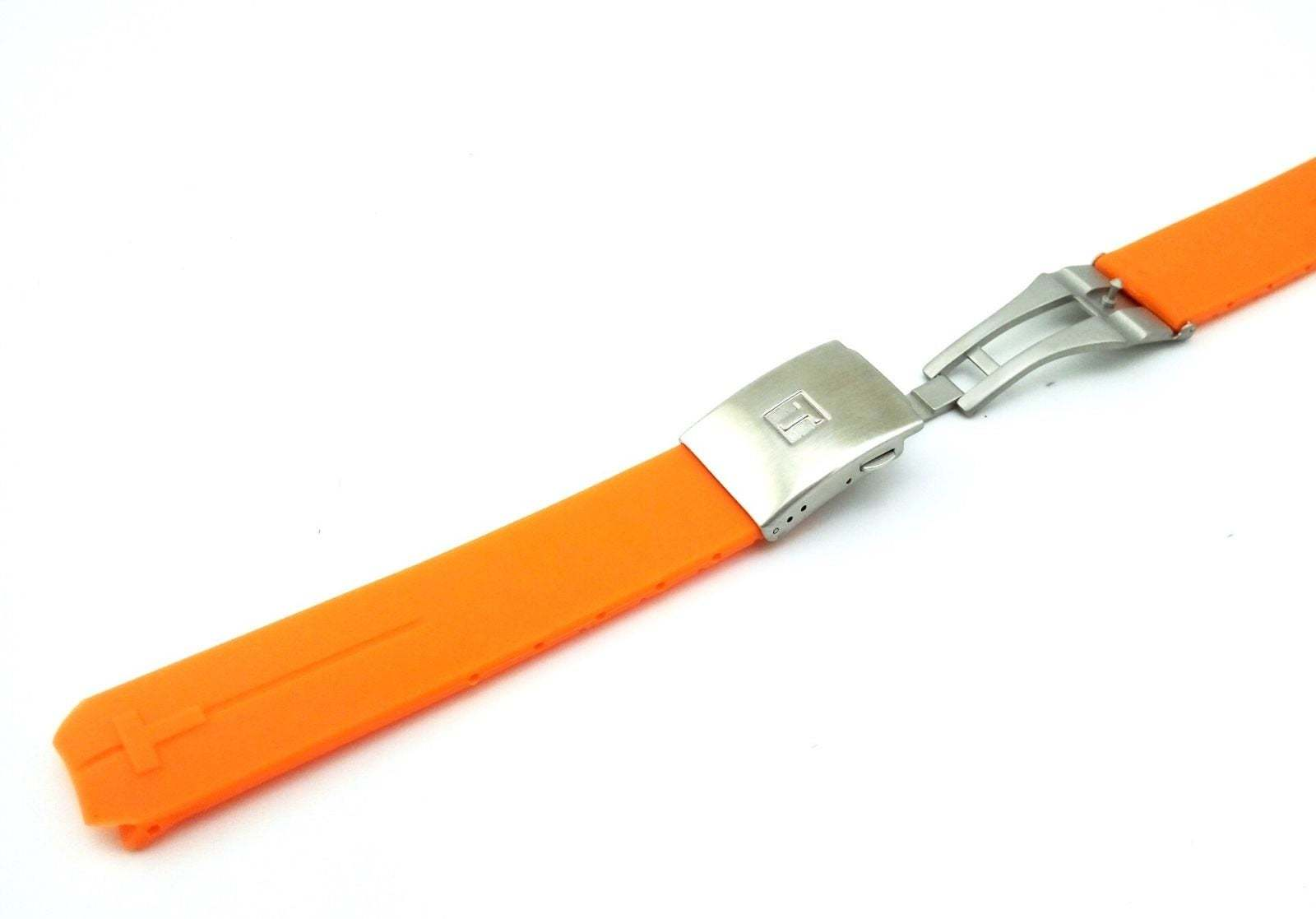 Primary image for Orange Rubber Silicone Strap Band for Tissot Sport Watch T-Touch 20mm With Clasp