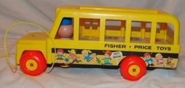 Fisher Price Toys Pull Along School Bus Vtg 1965 Toy Wood Base - $21.00