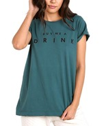 NWT $68 Wildfox Couture First Date Tee Shirt Buy Me A Drink in Sapphire ... - $27.03