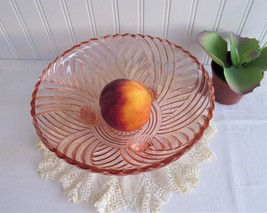 Pink Prismaric Swirl 3 Footed Glass Bowl 1940s Vintage Pressed Glass Centerpiece - $18.00
