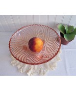 Pink Prismaric Swirl 3 Footed Glass Bowl 1940s Vintage Pressed Glass Cen... - $18.00