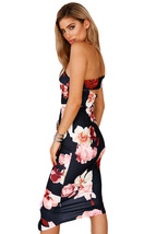 Sloping Shoulder Bodycon Floral Midi Dress - $24.95