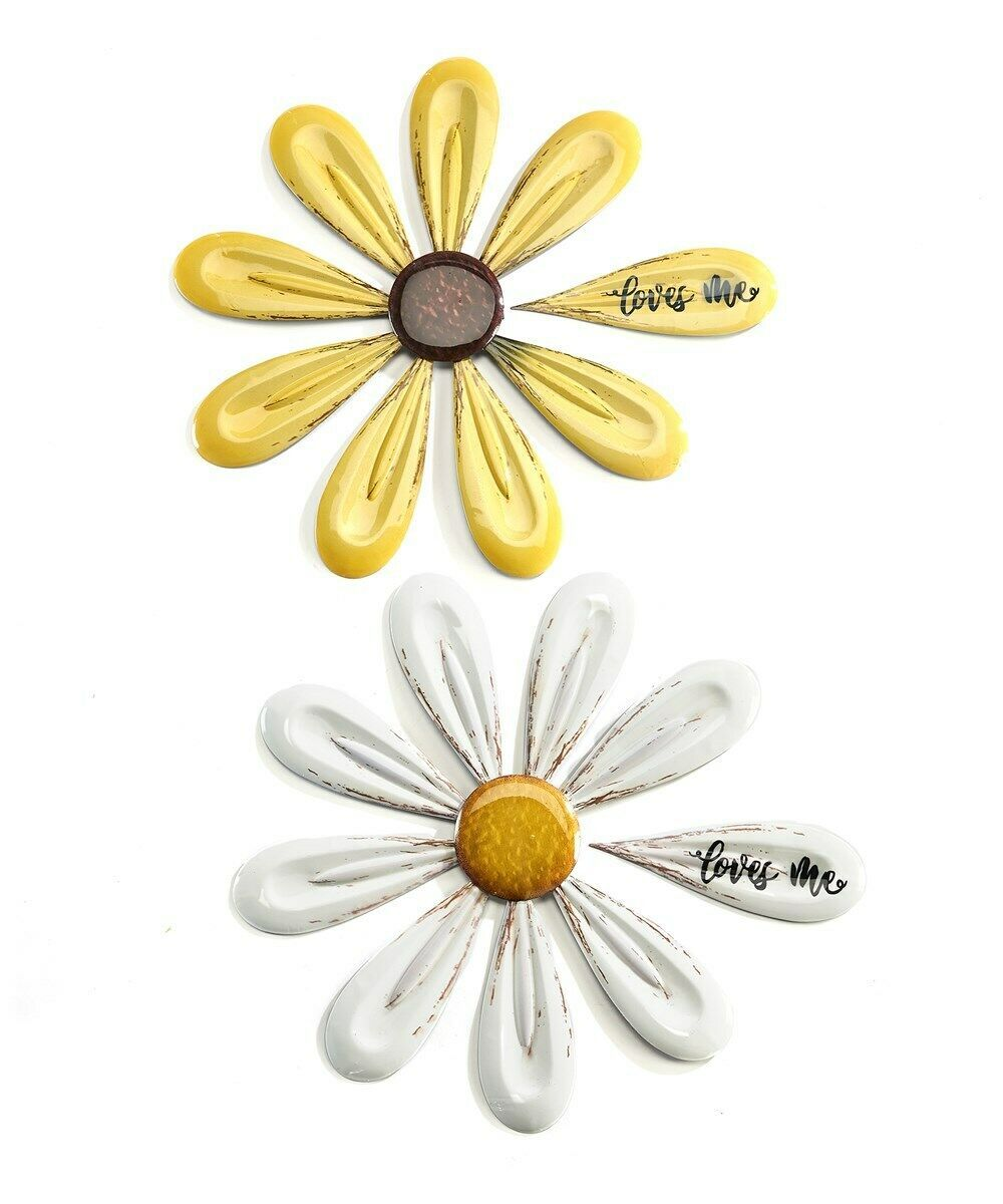 "Set of 2 - 17.7"" Daisy Flower Design Metal Wall Decor Plaques Yellow White"