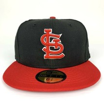 New Era Cap 59fifty St. Louis Cardinals Hat Size 6 7/8 Fitted Black Red NEW - $26.17