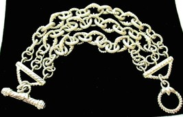 Judith Ripka 3-Row Sterling Silver Diamonique Toggle Bracelet JR Box/Pou... - $188.95