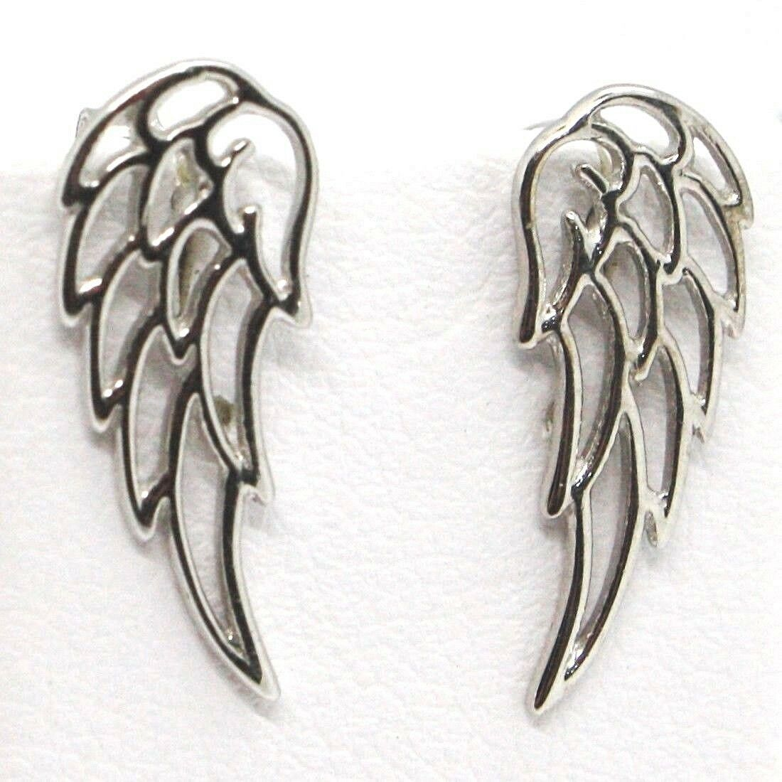 SOLID 18K WHITE GOLD PENDANT EARRINGS STYLIZED ANGEL WING, WINGS, MADE IN ITALY