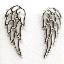 SOLID 18K WHITE GOLD PENDANT EARRINGS STYLIZED ANGEL WING, WINGS, MADE IN ITALY image 1