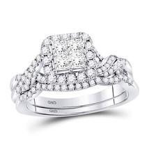 14k White Gold Princess Diamond Bridal Wedding Engagement Ring Set 1.00 Ctw - $1,149.00