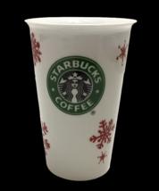 Starbucks Mug Cup Tumbler 2010 Ceramic Red Snowflakes Mermaid Logo Holiday - $32.66