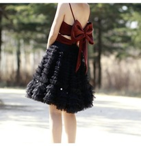 Black Knee Length Layered Tulle Skirt Plus Princess Tulle Skirt Holiday Outfit image 2