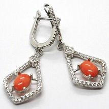 Silver Earrings 925, Hanging with Zircon, Red Coral Cabochon, Rhombuses image 3