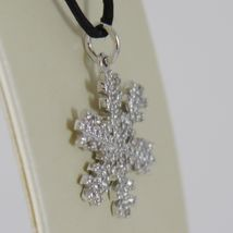 18K WHITE GOLD SNOWFLAKE PENDANT 25 MM, 0.98 INCHES, ZIRCONIA, MADE IN ITALY image 3