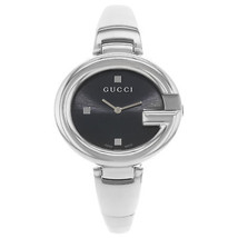 539a5b13c5f Gucci Guccissima Steel Black Dial Oval Quartz Ladies Bangle Watch YA134301  - £248.54 GBP