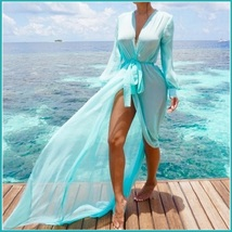Sheer Chiffon Saroong Full Length Long Sleeve Beach Swimsuit Tie Belt Cover Up image 3