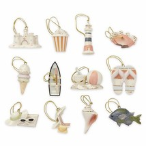Lenox Summer Miniature Tree Ornaments Set of 12 Sand Castle Boat Beach B... - $77.91