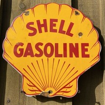 VINTAGE SHELL GASOLINE PORCELAIN SIGN AMERICAN GAS STATION MOTOR OIL PET... - $142.45