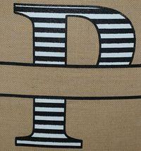 Kate Winston Brand Brown Burlap Monogram Black White P Garden Flag image 3