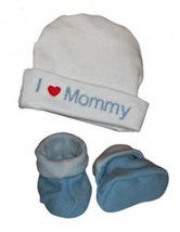 "Preemie & Newborn ""I love Mommy"" Hat and Booties Set - $18.00"