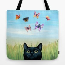 Tote bag All over print black Cat 606 Butterfly Nature art painting by L... - $26.99+