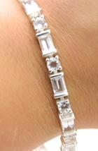 VTG Stunning .925 Sterling Silver Clear CZ Rhinestone Track Bracelet 7.2... - $49.50