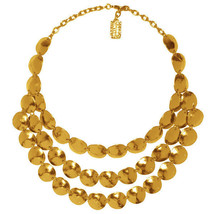 Karine Sultan Matte 24k Goldplate Lucie Statement Necklace,3 Rows,Hammered Shell - $79.95