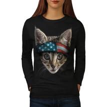Cat USA Tee Flag Head Animal Women Long Sleeve T-shirt - $14.99