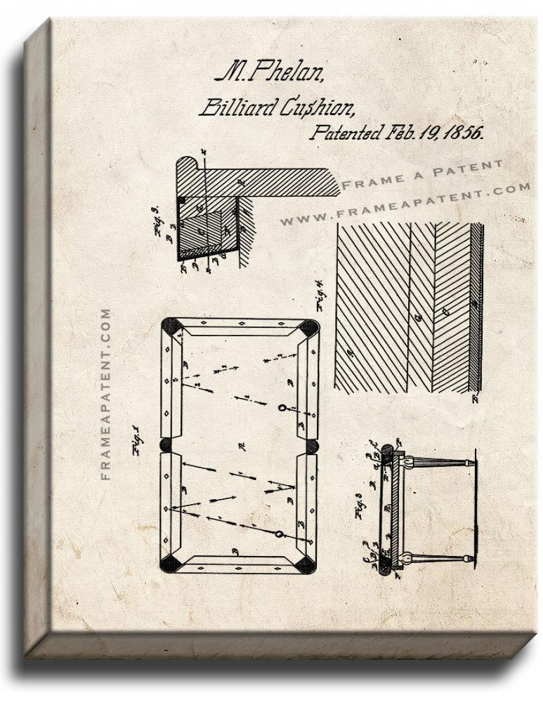 Primary image for Billiard Cushion Patent Print Old Look on Canvas